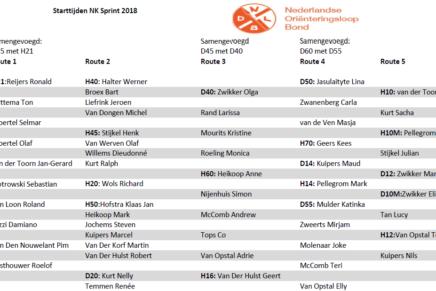 Startlijst Interclub 2018
